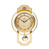 Golden plastic punctual music time and swing quartz wall clock