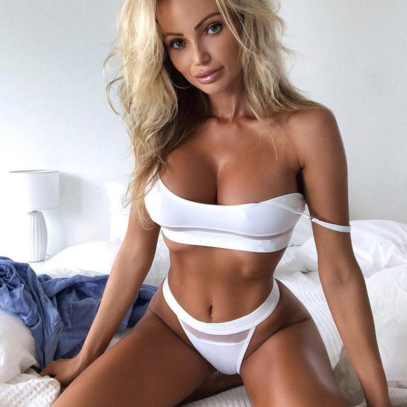 Sexy <strong>Beautiful</strong> Pure White With Bowknot High Waist Bikini