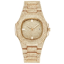 Herren Uhren Luxus Marke Mode Diamant Datum <span class=keywords><strong>Quarz</strong></span> Uhr 18k gold iced out uhr