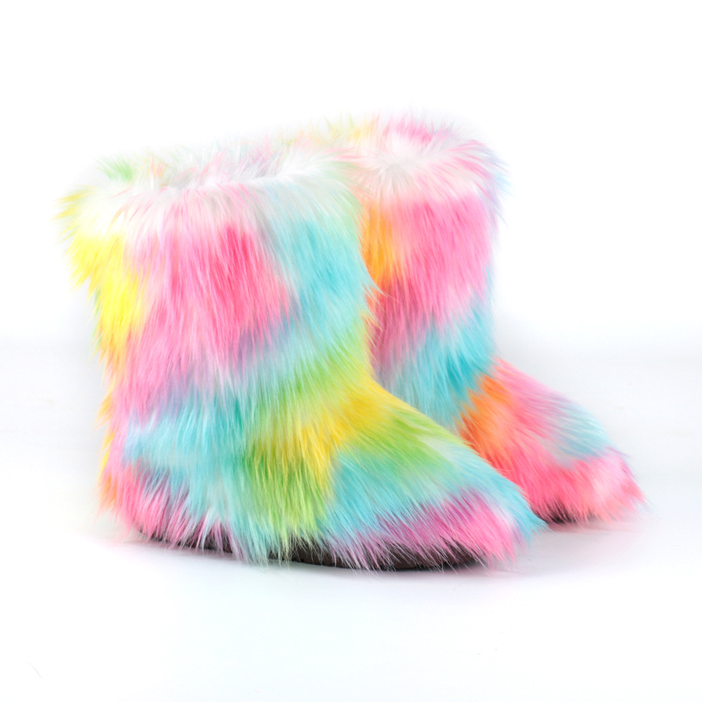 Factory Ankle Furry Fur Boots outdoor plush Fur Fashion home Faux Fox Fur Boots Women Snow Flat Winter Warm Fuzzy Furry Boots