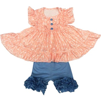 New Design Children Clothing Wholesale Lovely Girls Flower Tops And Shorts Outfits Kids Clothes