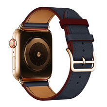 Ремешок для часов Apple Watch 5, 4, 3, 2, 1, оригинальный логотип Herm на пряжке, кожаный ремешок для часов iWatch 44/40 мм(Китай)