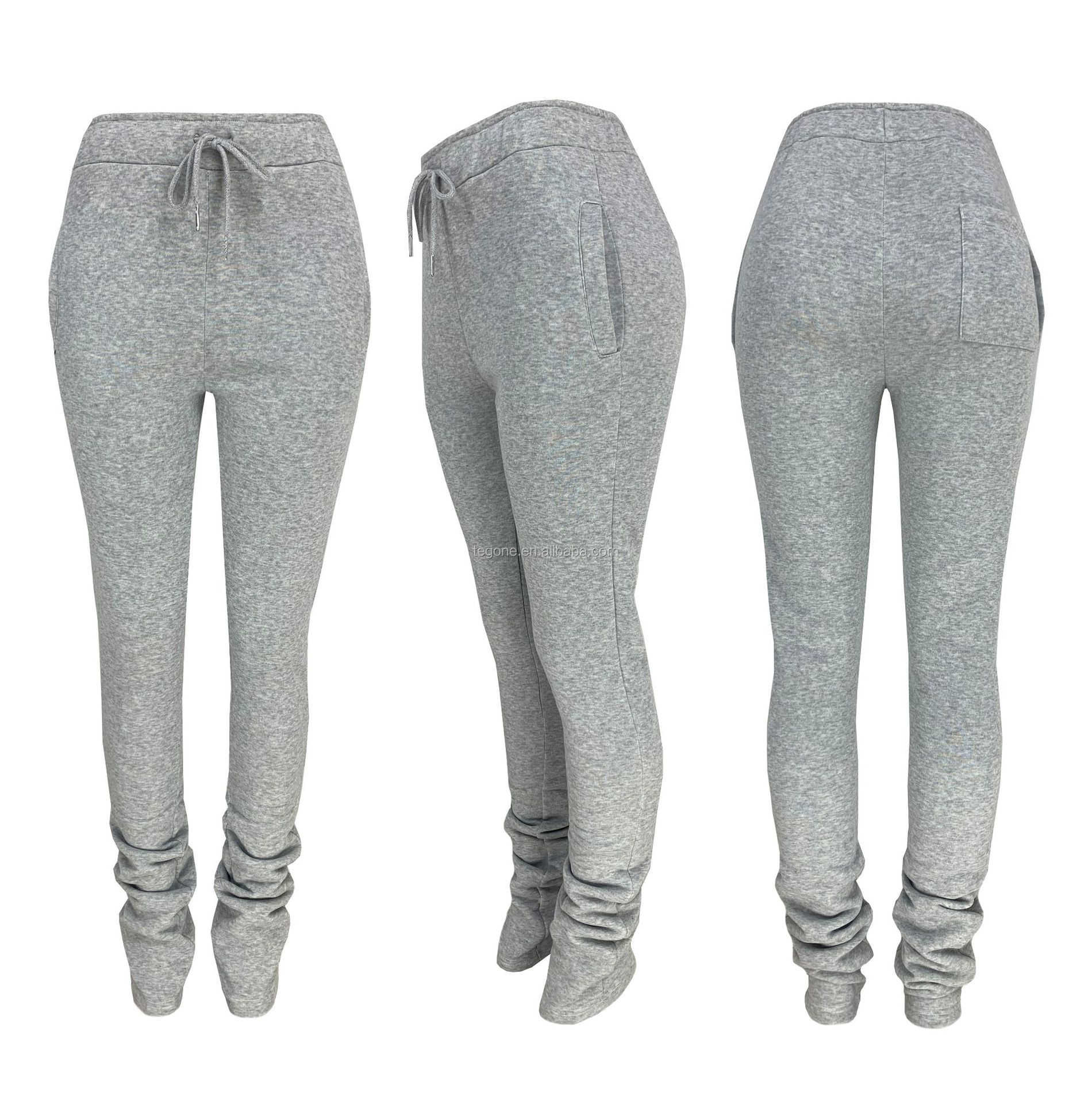 Wholesale new arrivals winter fall clothing womens stacked jogging sweat leggings drawstring pants with pockets two piece pants