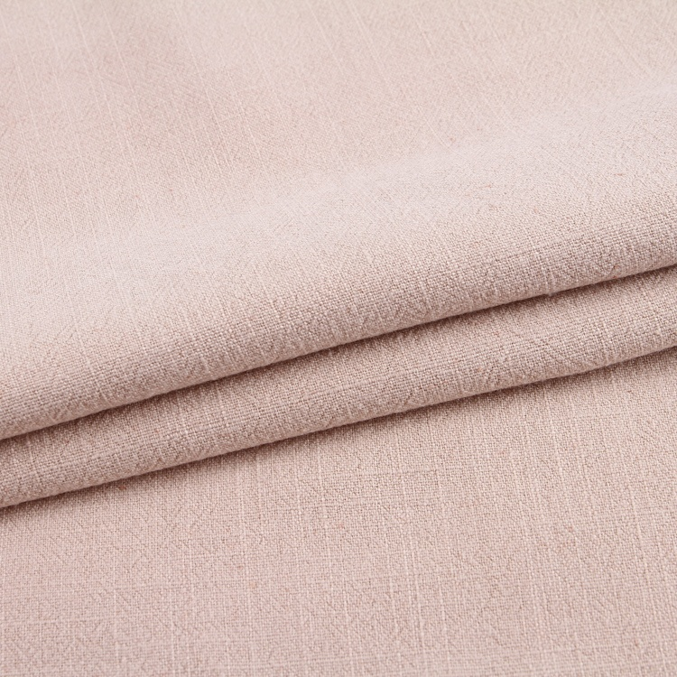 Plain color breathable stone washed woven organic viscose linen fabric wholesale for clothing