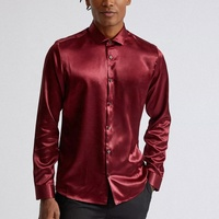 New designs custom men luxury satin red shirt with button up front soft material