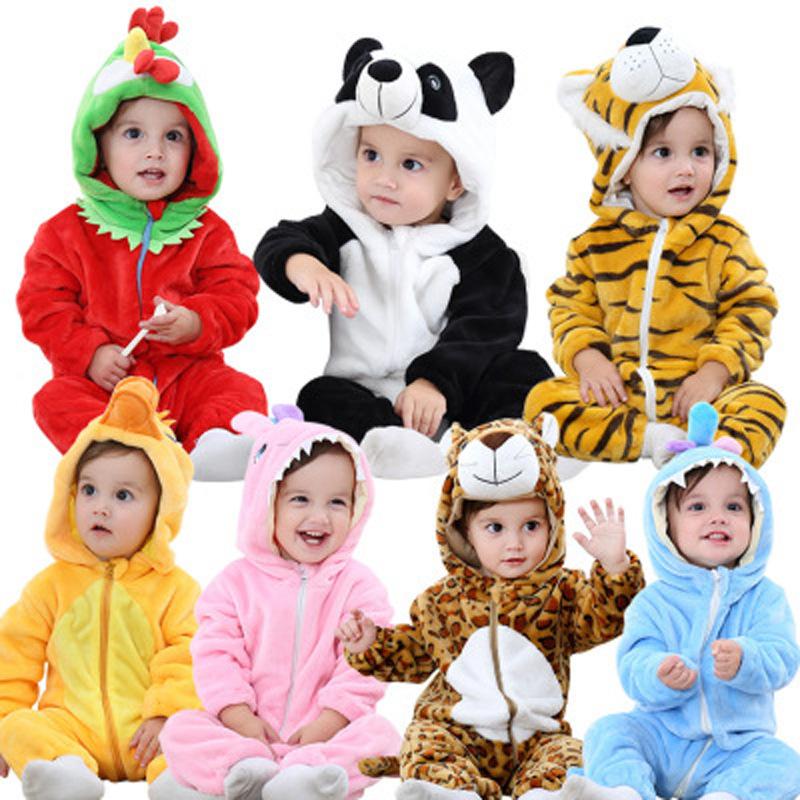 Grosir Bayi Item Bayi 0-24 Bulan Bayi Murah Ayam Piyama Flanel Bulu Satu Sie untuk Musim Dingin Bayi hewan Baju Monyet