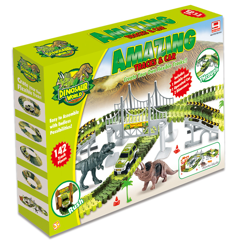 Amazon Hot Selling Dinosaur Track Cars 142PCS Changeable Assembly DIY Electric Roller Coasters Kids Building Blocks Slot Toy