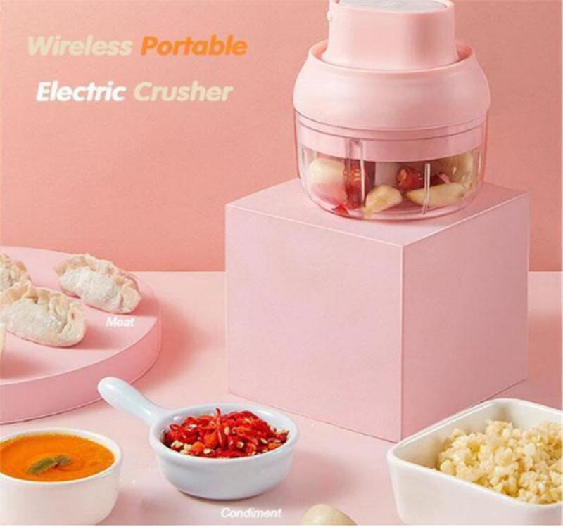Draadloze Draagbare Elektrische Crusher Elektrische Mini Voedsel Chopper Knoflookpers Vleesmolen Pull String Groente Grinder Stamper