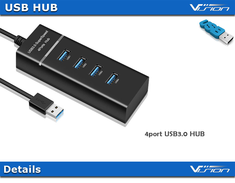 4 Ports USB 3.0 Hub Adapter LED Indicator 5Gbps data Portable Data Hub