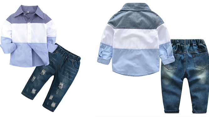 Fashion Musim Semi Musim Gugur Pakaian Anak 2 Pcs Laki-laki Pakaian Set Baju + Celana Jeans Pakaian Set Anak Laki-laki Pakaian Set