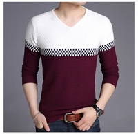 latest v neck long sleeves texture pattern knitting mens pullover