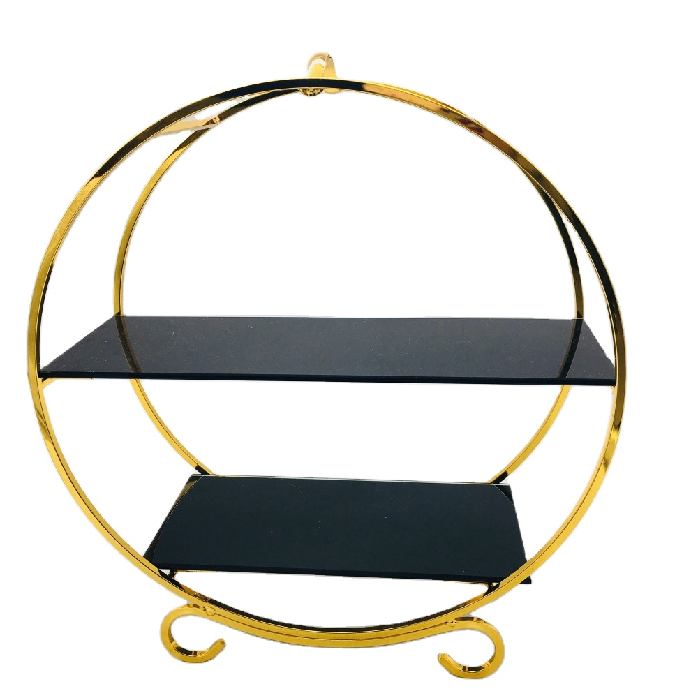 luxury 2-layers marble acrylic mirror cake stands storage rack Ferris wheel metal wedding hotel shops decoration serving tray