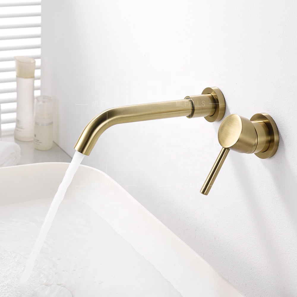 Brushed gold brass wall mounted wash bathroom wall mount basin mixer taps faucet