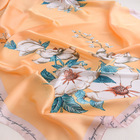 Fashion New Scarf Wholesale 2020 New Styles Fashion Asian Scarves Large Pink Flower Border Printed Women Korean Silk Scarf