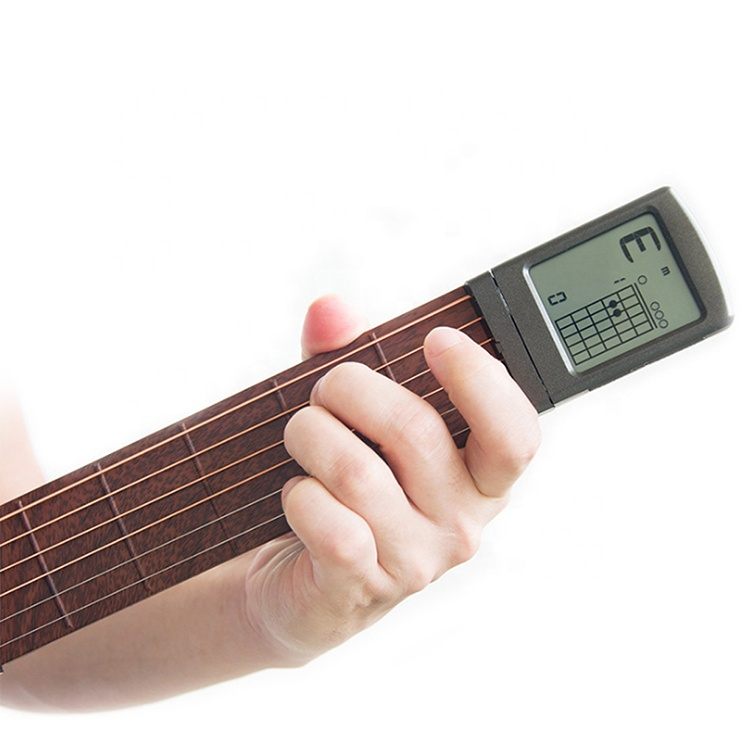 Pocket Guitar Chord Practice Tool, Six string Portable Guitar Neck for Trainer Beginner with a Rotatable Chords Chart Screen