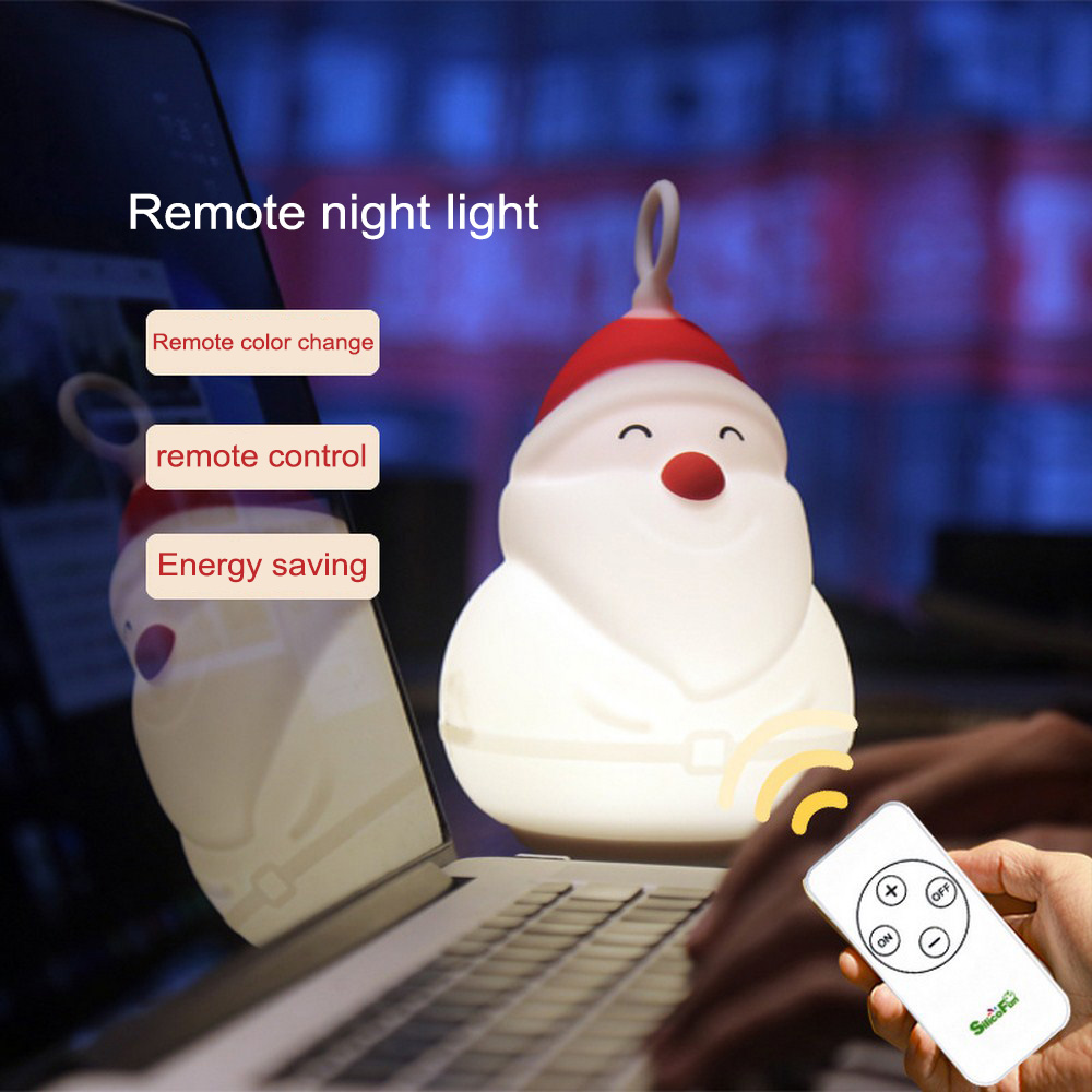 7 Colors Touch Sensor Santa Claus Night Light Silicone Rechargeable Baby Kids Bedside Lamp Home Decor Birthday Christmas Gift