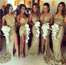 Блестящая подвеска, золотые расшитые блестками платья русалки подружки невесты с открытой спиной и разрезом размера плюс, свадебное платье...(Китай)