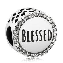Ажурные сердца матери любовь выпускник Сова Вера и крест Blessed бусины подходят Pandora браслет 925 пробы Серебряный Шарм DIY ювелирные изделия(Китай)