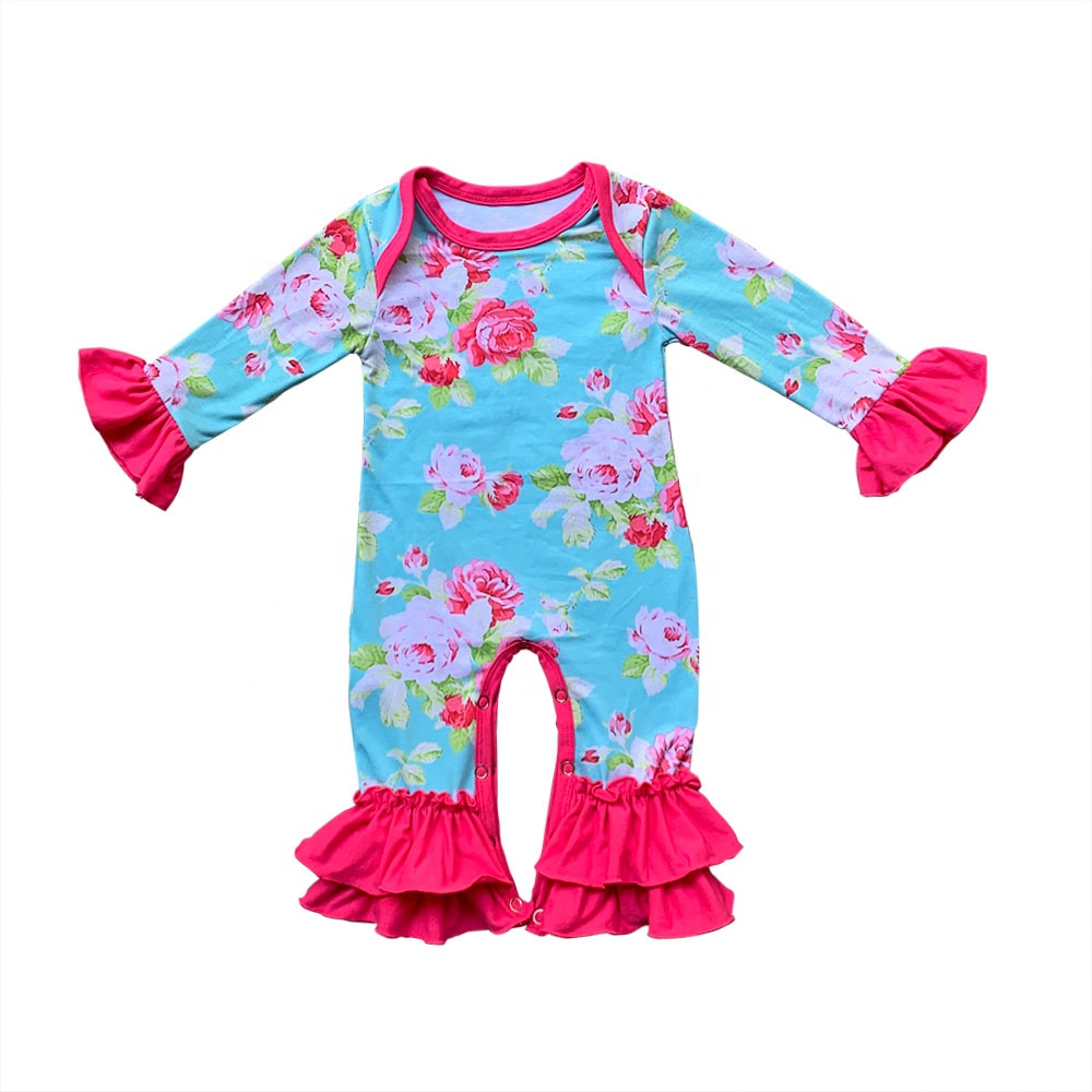 High quality RTS floral baby girls rompers ruffle long sleeves children outfits newborn baby sleepwears