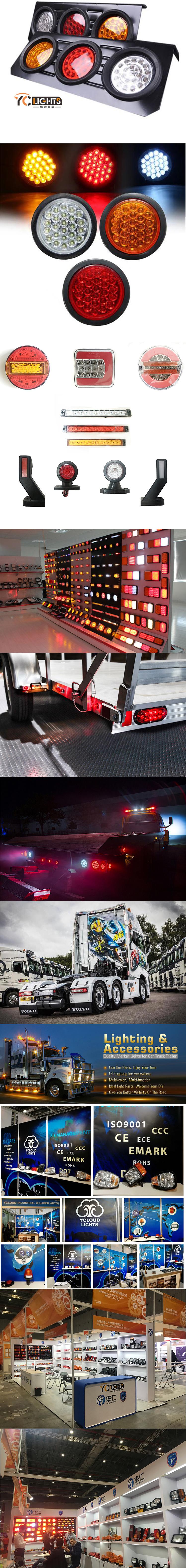 16 leds 12v 36v 24 v 24 volts man stop stroboscope tête ronde arrière côté marqueur queue led camion lumière pour 2020 accessoires cab car