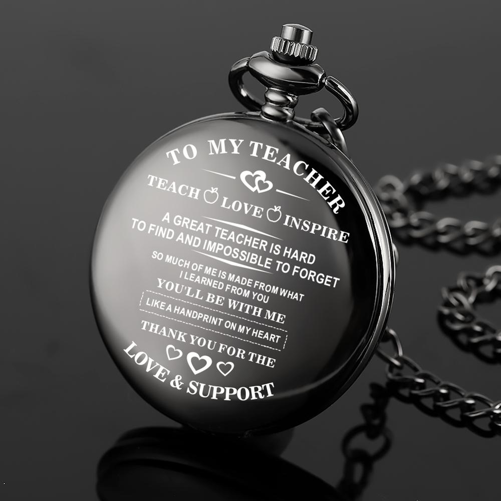 Cheap To My Teacher Black Modern Pocket Watch with Watch Chain