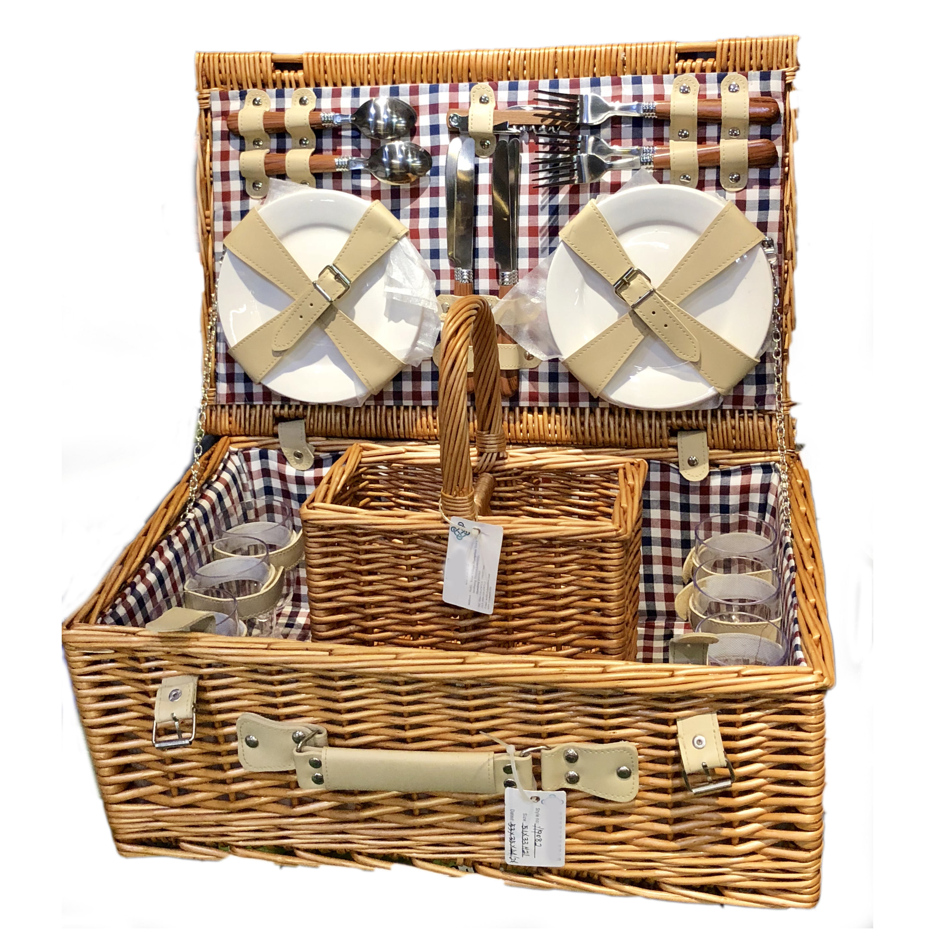 Gift willow basket food wicker picnic basket set wholesale for 2 4 person