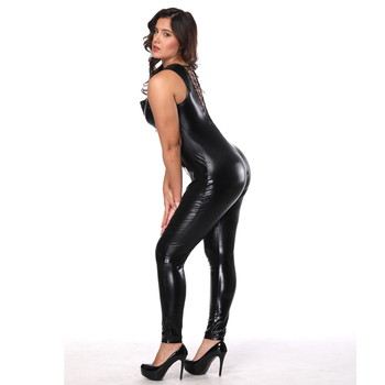 Wholesale zentai catsuit sexy black leather catsuit women