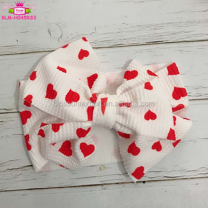 Valentine's Day Boutique Baby Girls Hair Accessories Red Heart Top Knot Wide Big Bow Baby Girl Turban Headband Headwraps