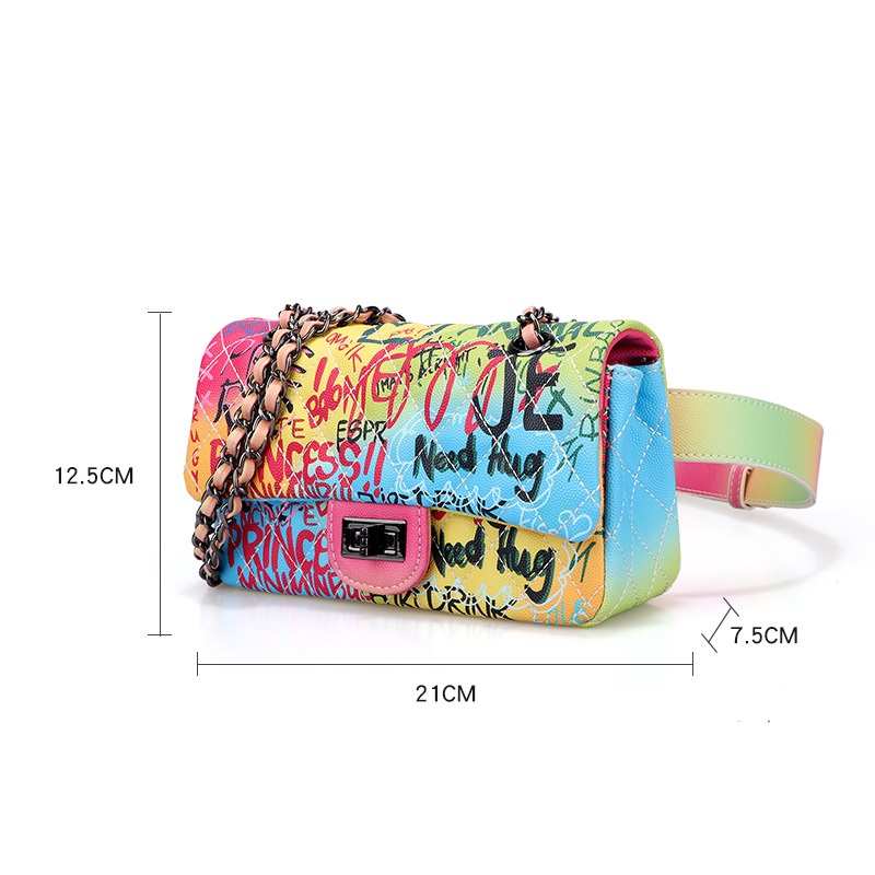 New Colorful graffiti running waist bag girls women holographic waist bag 	 leather waist bag