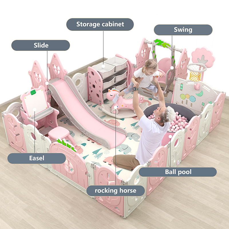 baby plastic playpens with slide and swing for kids fence indoor Playground toy