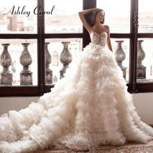 Роскошное Свадебное платье принцессы из тюля, расшитое бисером, с открытыми плечами и рюшами на рукавах, Эшли Кэрол 2020(China)