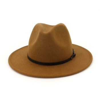 Men Women Winter Wool Flat Brim Fedora Hat with PU Leather