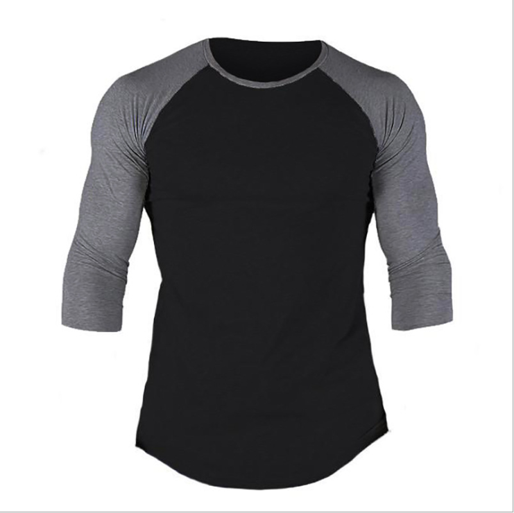 No brand Pure Color Cotton Men's Slim 7/10 Sleeve Round Neck Sports Fitness Hip Hop Fashion t-shirt 4