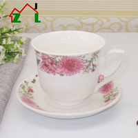 Elegant beautiful flower new design ceramics cup home white bone china tea pot with cups set