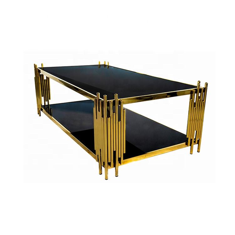 Marmer Kotak Modern Baja Tahan Karat Emas Hitam Tempered Glass Ujung Meja Atas