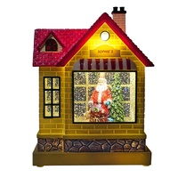 Wholesale plastic Water spinning Illuminated musical led Santa shop Christmas snow globe for home decor