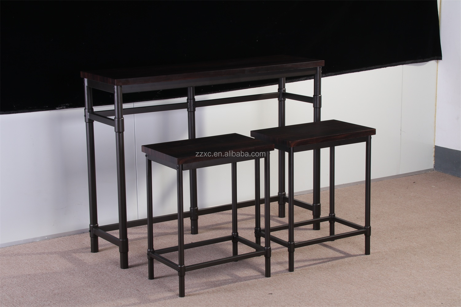 Cheap Metal Wood Counter Height Dining Bar Table Set