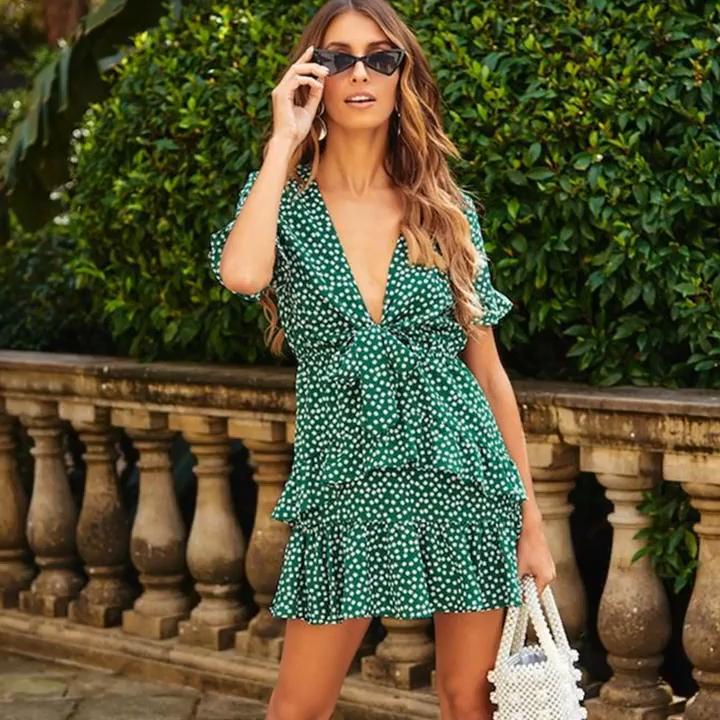 2020 New Hot Sale Dresses Bohe Mini V Neck Short Sleeve Ruffle Green Dot Summer Casual Dress Women