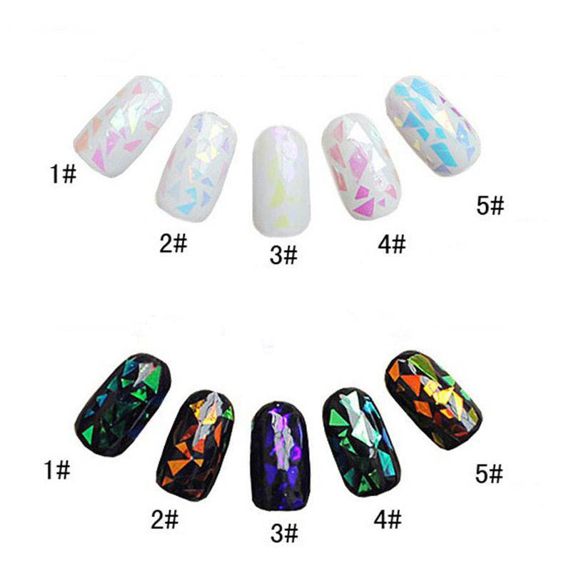 5 Different Colors/set Broken <strong>Glass</strong> Pieces Mirror Foil Tips Stencil Decal <strong>Nail</strong> <strong>Art</strong> Sticker Manicure Cute Tools
