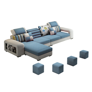 Home Furniture Functional U-shaped 6-seater Leather Couch Living Room Washable Fabric Sofas 3 Seater Sofa Set