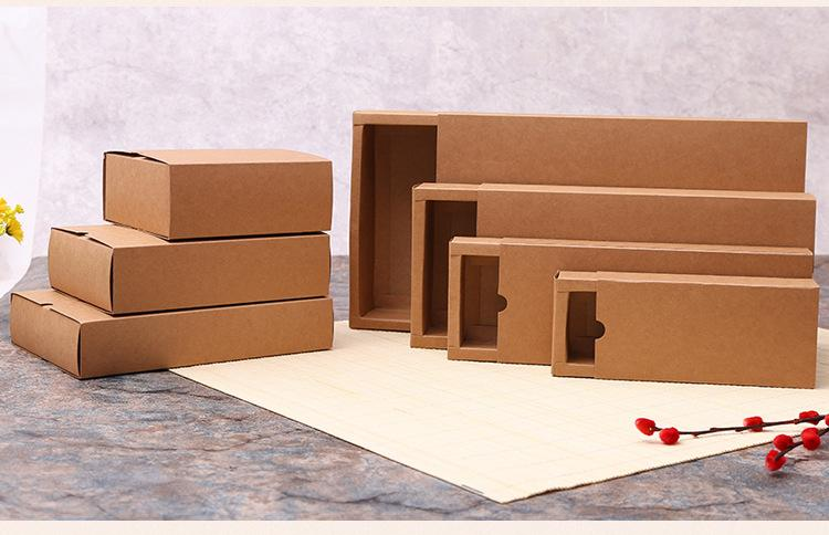 Kraft paper box black white paper drawer box for tea gift underwear biscuit packaging