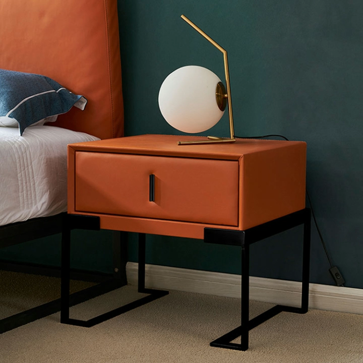 Turuncu deri komodinler fashional tasarım İskandinav tarzı başucu masa oturma odası yan çekmeceler