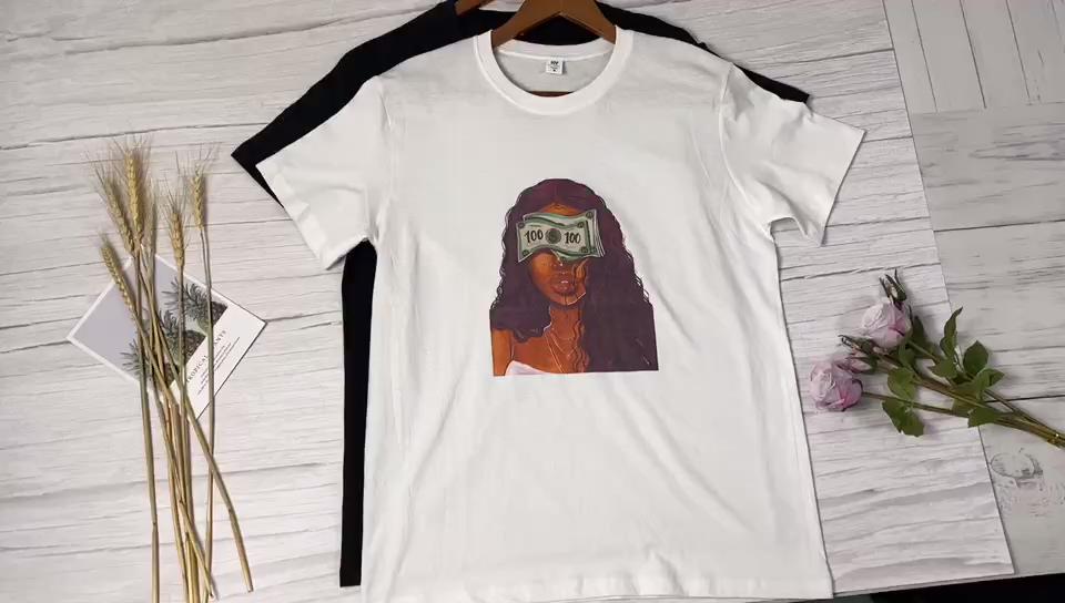 Cheap Lady T Shirts Custom make money not friends cool black girl T-Shirt Oversized Women T Shirt