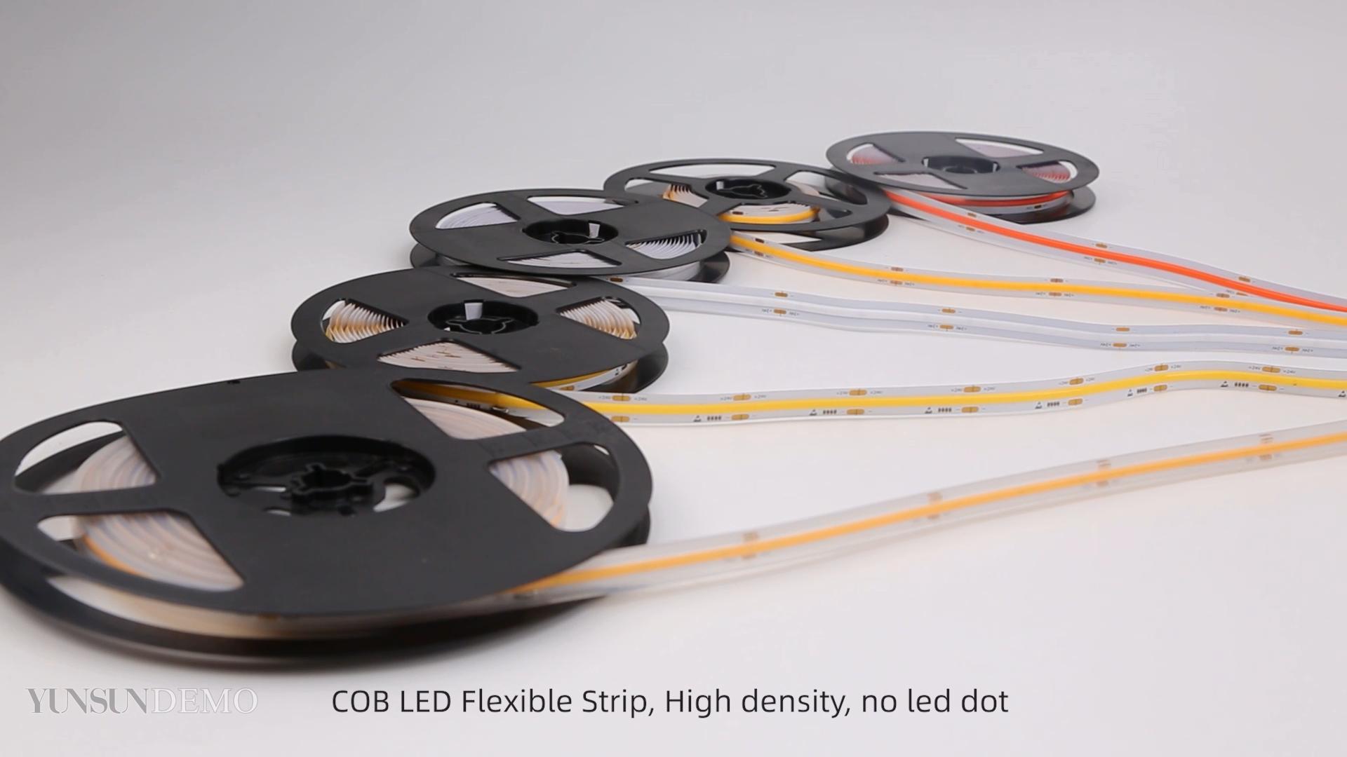 Bande lumineuse LED COB flexible et étanche, sans points d'éclairage, en blanc, rouge, vert, bleu, 12V 24V, 528 pièces, nouvel arrivage