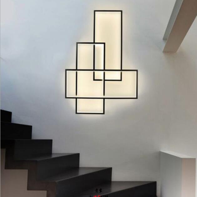 Modern wrought iron geometric stairwell background wall aisle decoration LED wall light