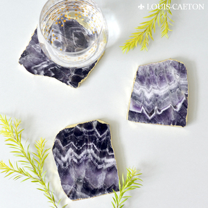 Newest sale attractive style reusable cork desk coaster for drink amethyst agate stone coaster for decoration