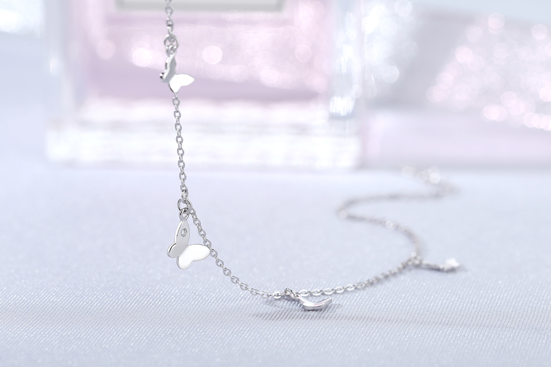 Wholesale Fashion womens jewelry silver/brass anklets butterfly chain anklet(图1)