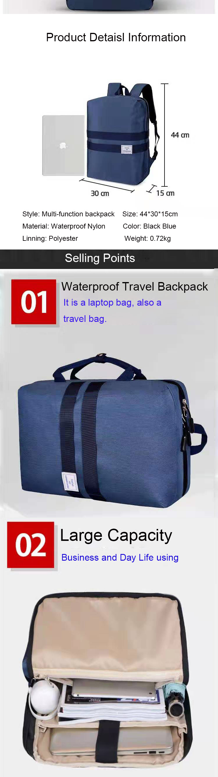 Osgoodway Wholesale Multi-Function Business Laptop Travel Smart Backpack Bags for Men