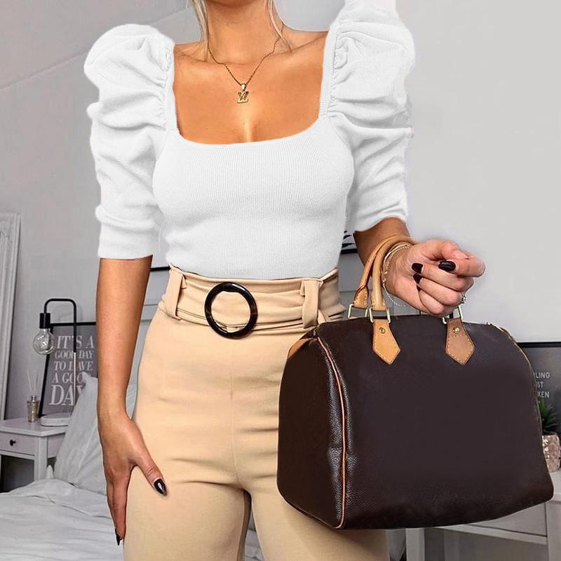 0393C 2020 kadın yarım kollu kare yaka kısa tişörtler lady casual tops