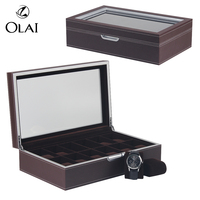 Wholesale And MOQ 1PC Custom Logo 12 slot Brown PU Leather Watch Packaging Box, Custom Wooden Watch Storage Display Box Case